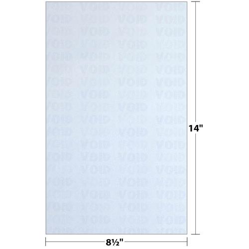 "8.5"" x 14"" Void K1 3-Part Carbonless Security Paper with 8 Features, Blue 20 Lb. Bond, 250 Sheets/pack"