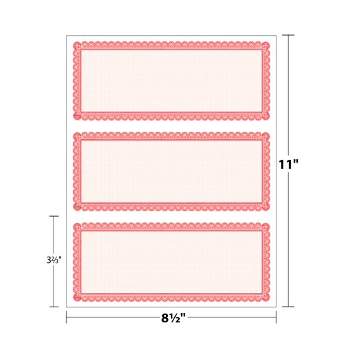 """8.5"""" x 3.67"""" Certificate with Border on 8.5"""" x 11"""", 60 Lb. Offset, 50/pack"""