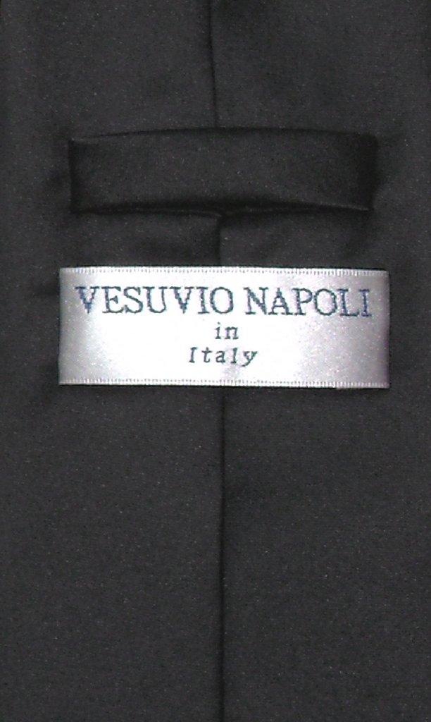 Vesuvio Napoli NeckTie Solid BLACK Color Men's Neck Tie