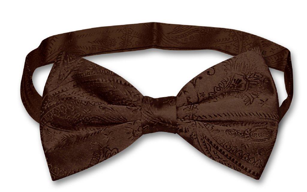 Vesuvio Napoli BOWTIE Dark Brown Paisley Color Men's Bow Tie for Tuxedo or Suit