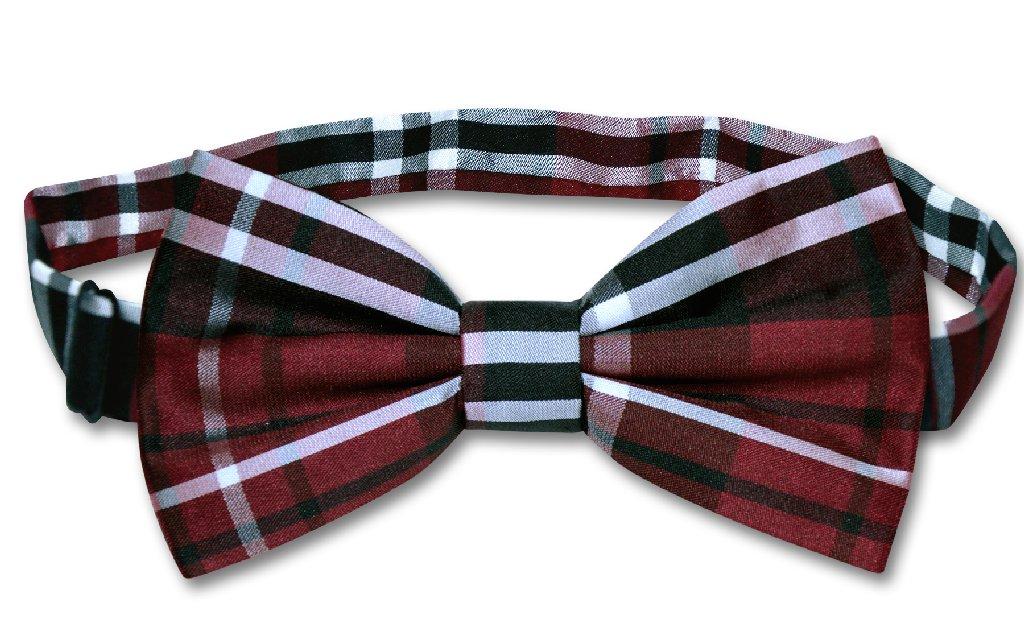 Vesuvio Napoli BOWTIE Black Burgundy White Color PLAID Design Men's Bow Tie