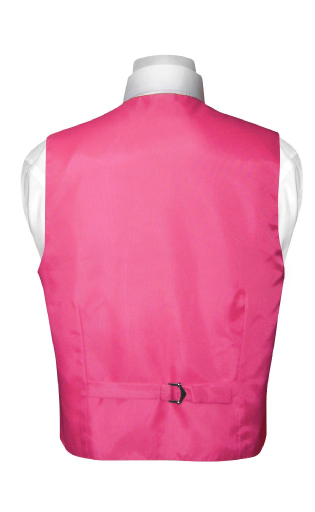 BOY'S Dress Vest & BOW TIE Solid HOT PINK FUCHSIA Color Bow Tie Set