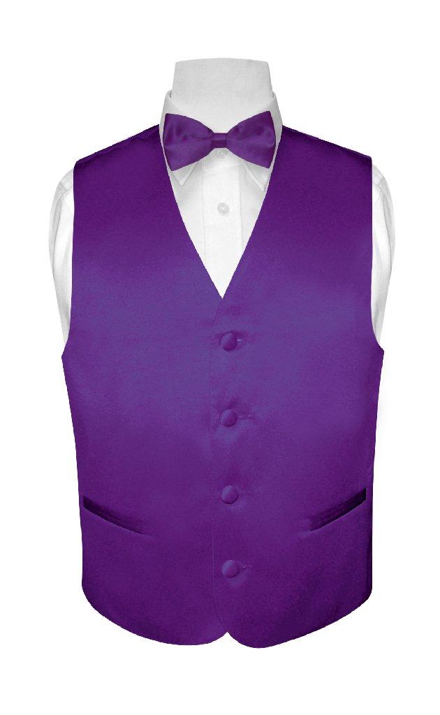 BOY'S Dress Vest & BOW TIE Solid PURPLE INDIGO Color Bow Tie Set