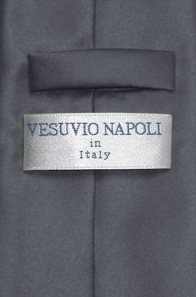 Vesuvio Napoli NeckTie Solid CHARCOAL GREY Color Men's Dark Gray Neck Tie