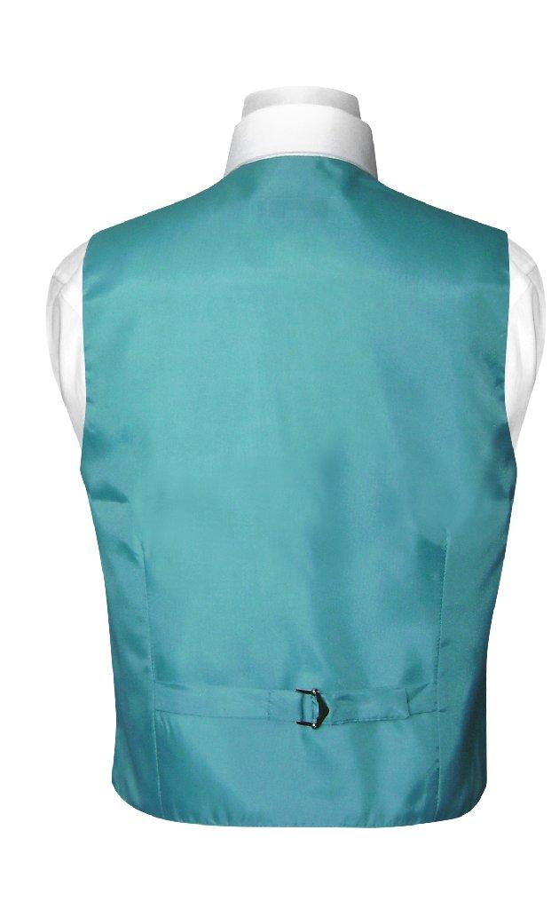 BOY'S Dress Vest & NeckTie Solid TURQUOISE AQUA BLUE Color Neck Tie Set