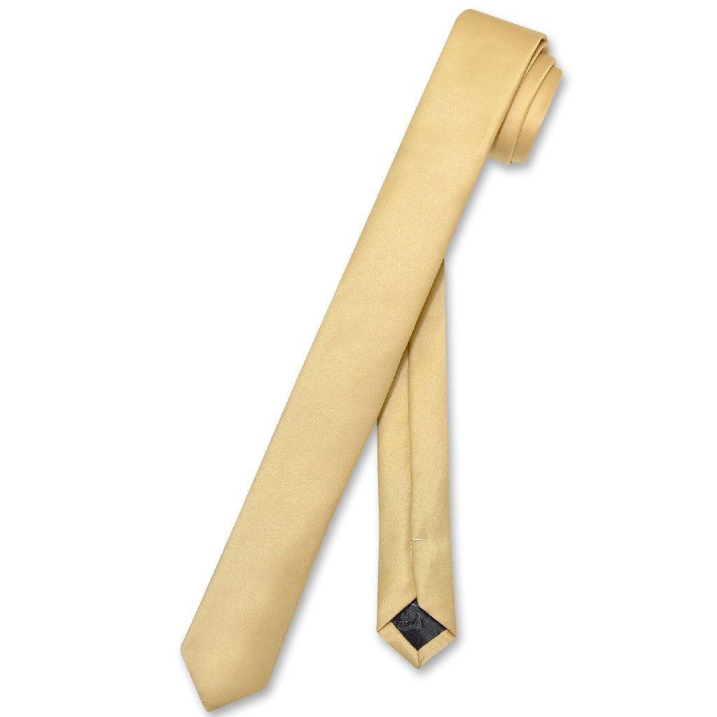 """Vesuvio Napoli Narrow NeckTie Extra Skinny GOLD Color Men's Thin 1.5"""" Neck Tie"""