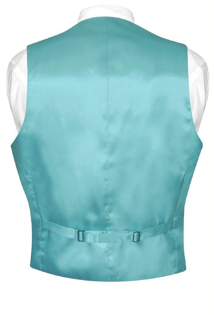 biagio mens silk dress vest necktie solid turquoise aqua