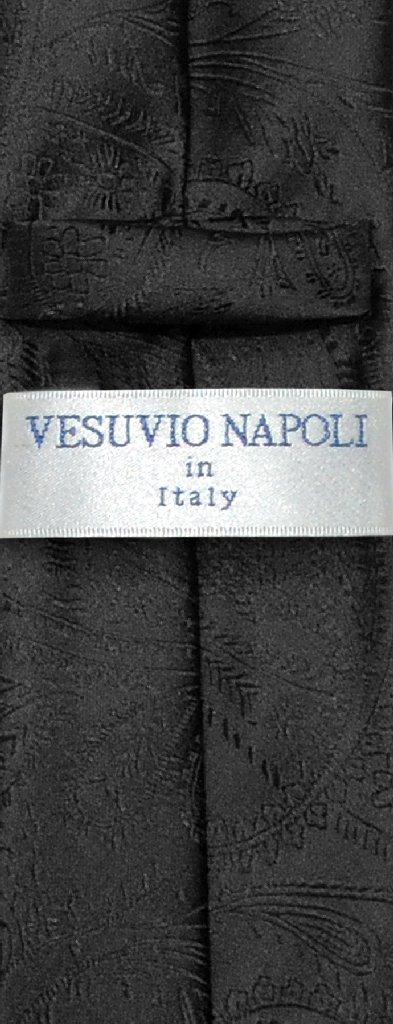 """Vesuvio Napoli Narrow NeckTie Solid BLACK Paisley 2.5"""" Skinny Men's Neck Tie"""