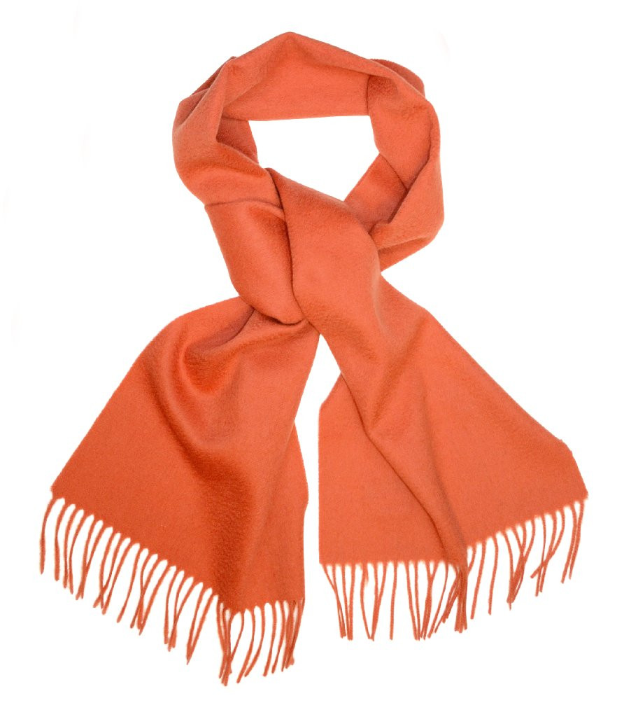 Biagio 100% Wool NECK Scarf Solid BURNT ORANGE Color Scarve for Men or Women