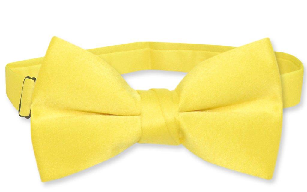Vesuvio Napoli BOY'S BOWTIE Solid GOLDEN YELLOW Color Youth Bow Tie