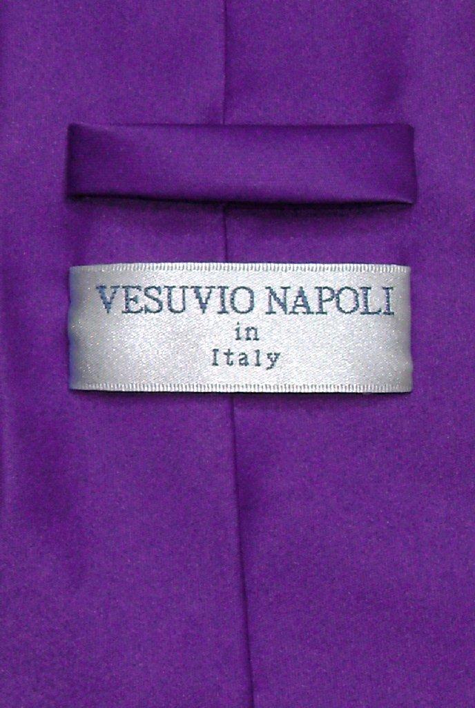 Vesuvio Napoli Solid PURPLE INDIGO Color NeckTie Handkerchief Men's Neck Tie Set