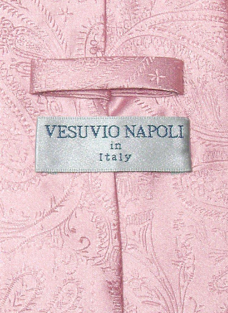 Vesuvio Napoli Pink PAISLEY NeckTie & Handkerchief Matching Men's Neck Tie Set