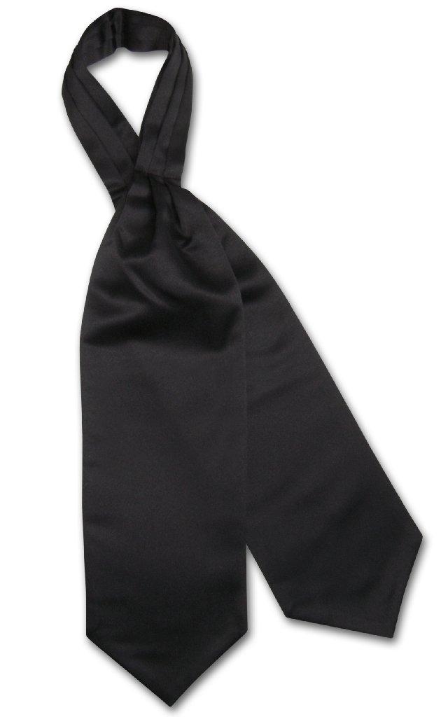 Vesuvio Napoli ASCOT Solid BLACK Color Cravat Men's Neck Tie