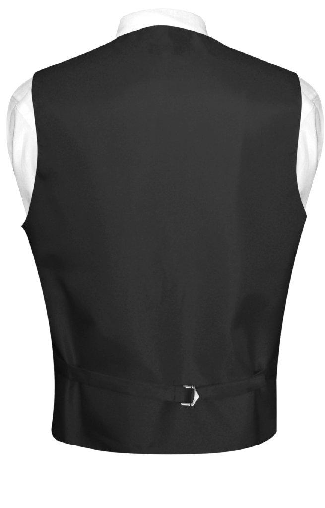 Men's Dress Vest & NeckTie Solid CHARCOAL GREY Color Neck Tie Set for Suit Tux