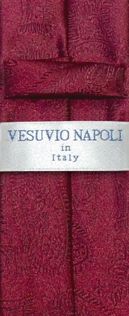"Vesuvio Napoli Narrow NeckTie Solid BURGUNDY Paisley 2.5"" Skinny Men's Neck Tie"
