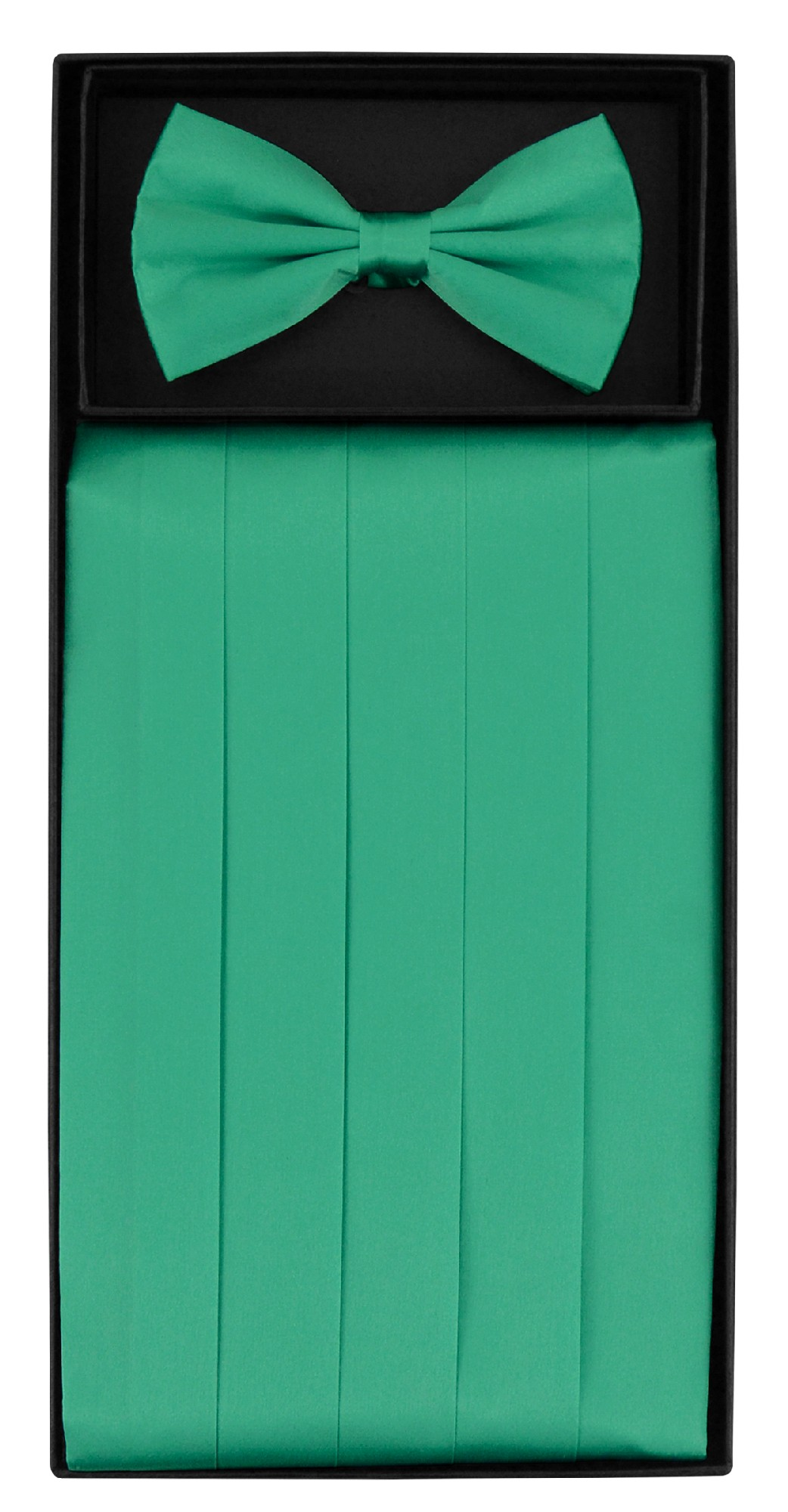SILK Cumberbund & BowTie Solid AQUA GREEN Color Men's Cummerbund Bow Tie Set