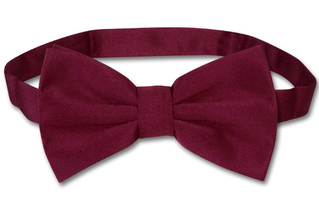 Men's Dress Vest & BowTie Solid BURGUNDY Color Bow Tie Set for Suit or Tuxedo