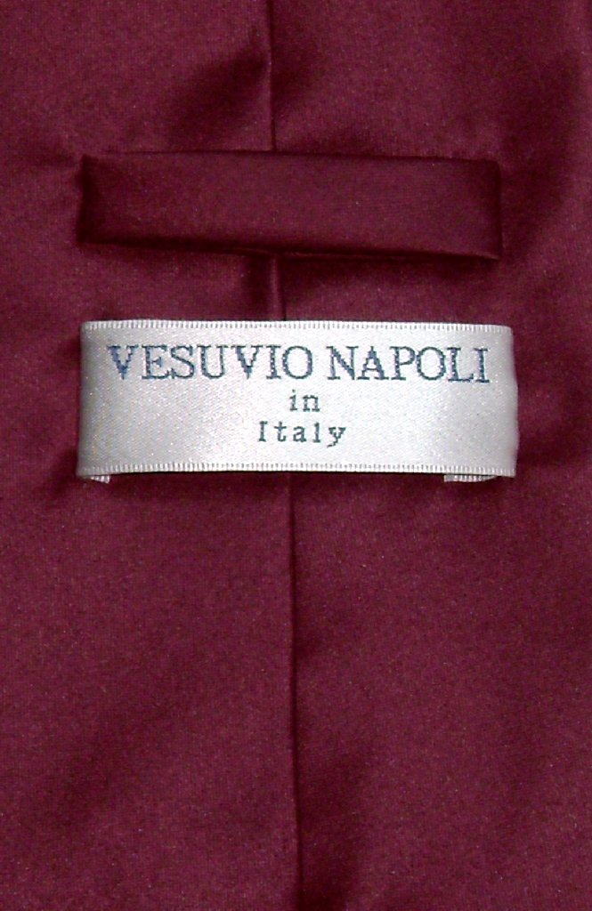 Vesuvio Napoli Solid BURGUNDY Color NeckTie & Handkerchief Men's Neck Tie Set