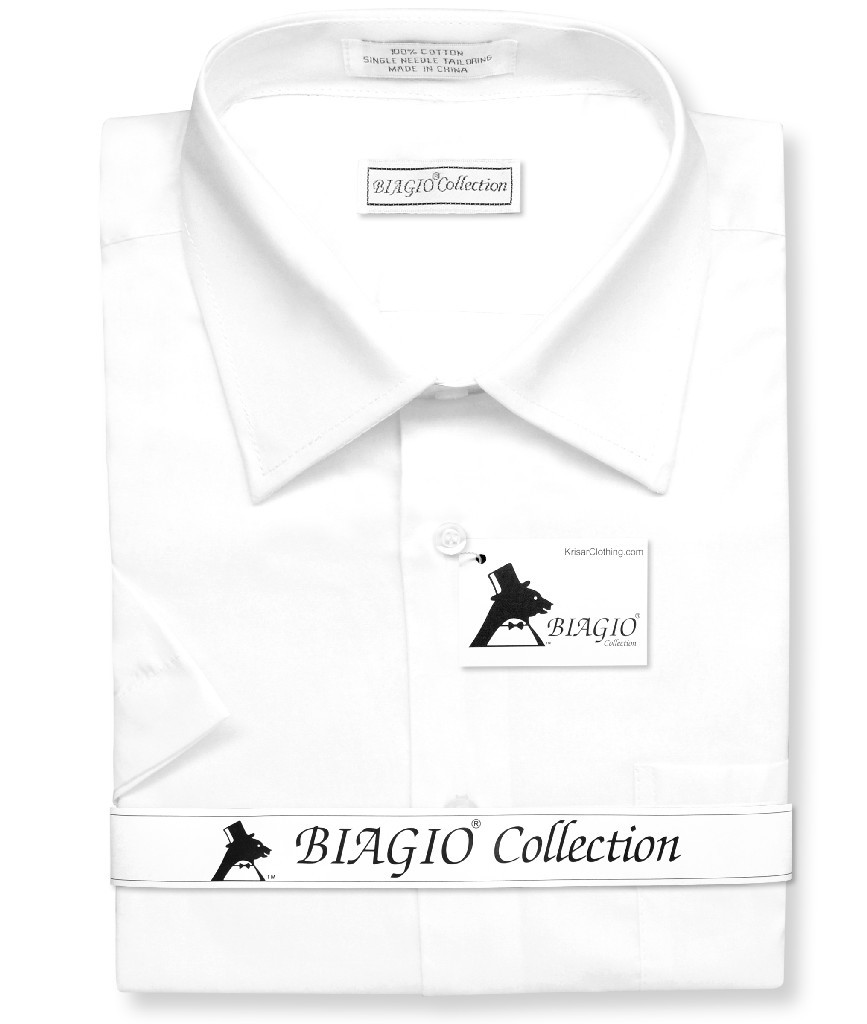 Biagio 100% Cotton Men's Short Sleeve Solid WHITE Color Dress Shirt