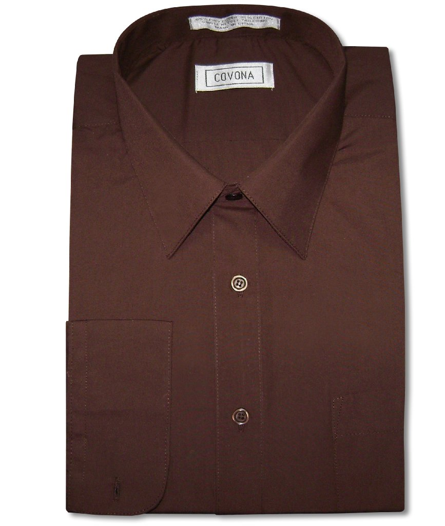 Men's Solid CHOCOLATE BROWN Color Dress Shirt w/ Convertible Cuffs