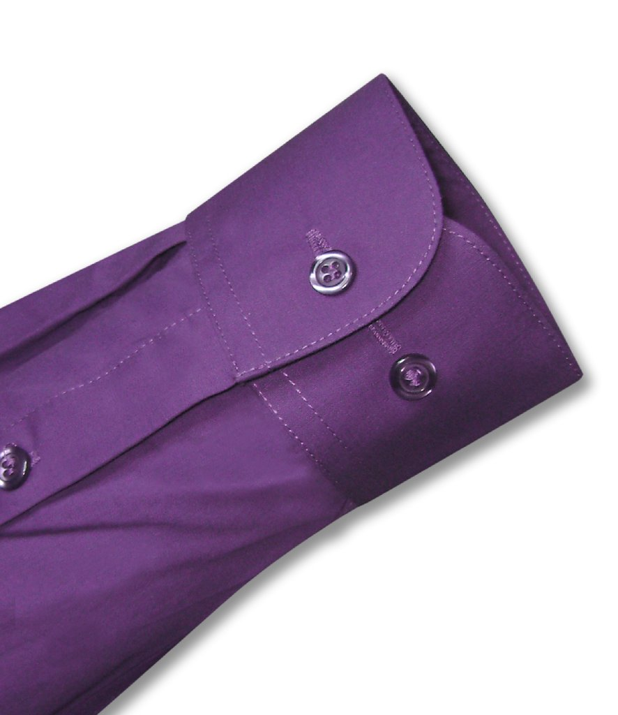 Biagio Men's 100% COTTON Solid PURPLE INDIGO Dress Shirt w/ Convertible Cuffs