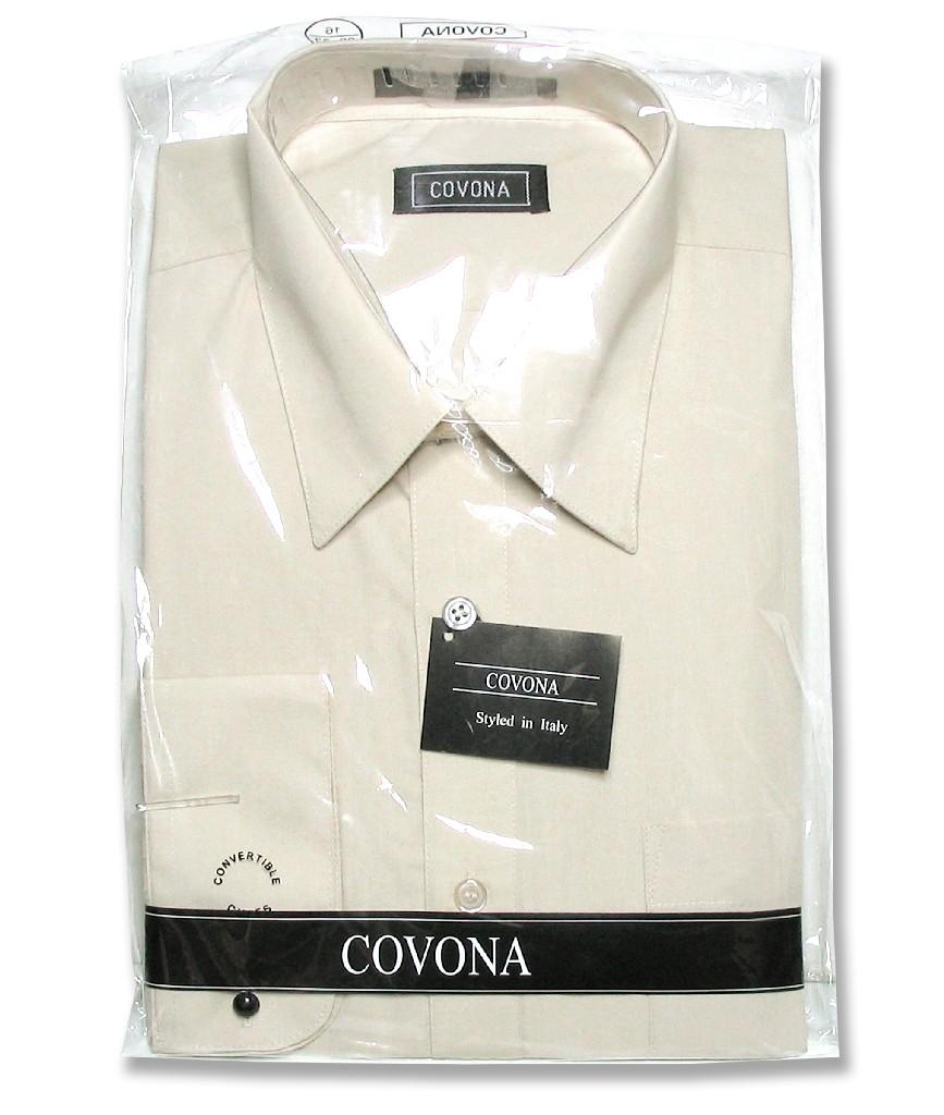 Men's Solid Beige Brown Color Dress Shirt w/ Convertible Cuffs