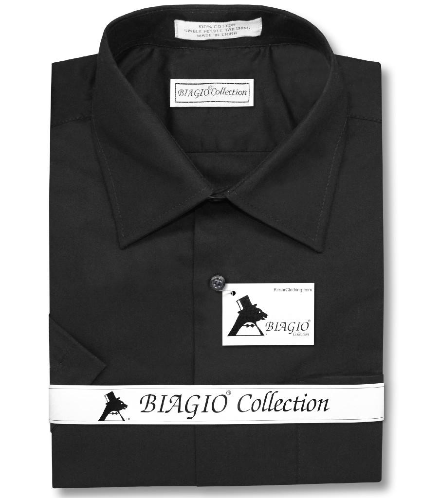 Biagio 100% Cotton Men's Short Sleeve Solid BLACK Color Dress Shirt