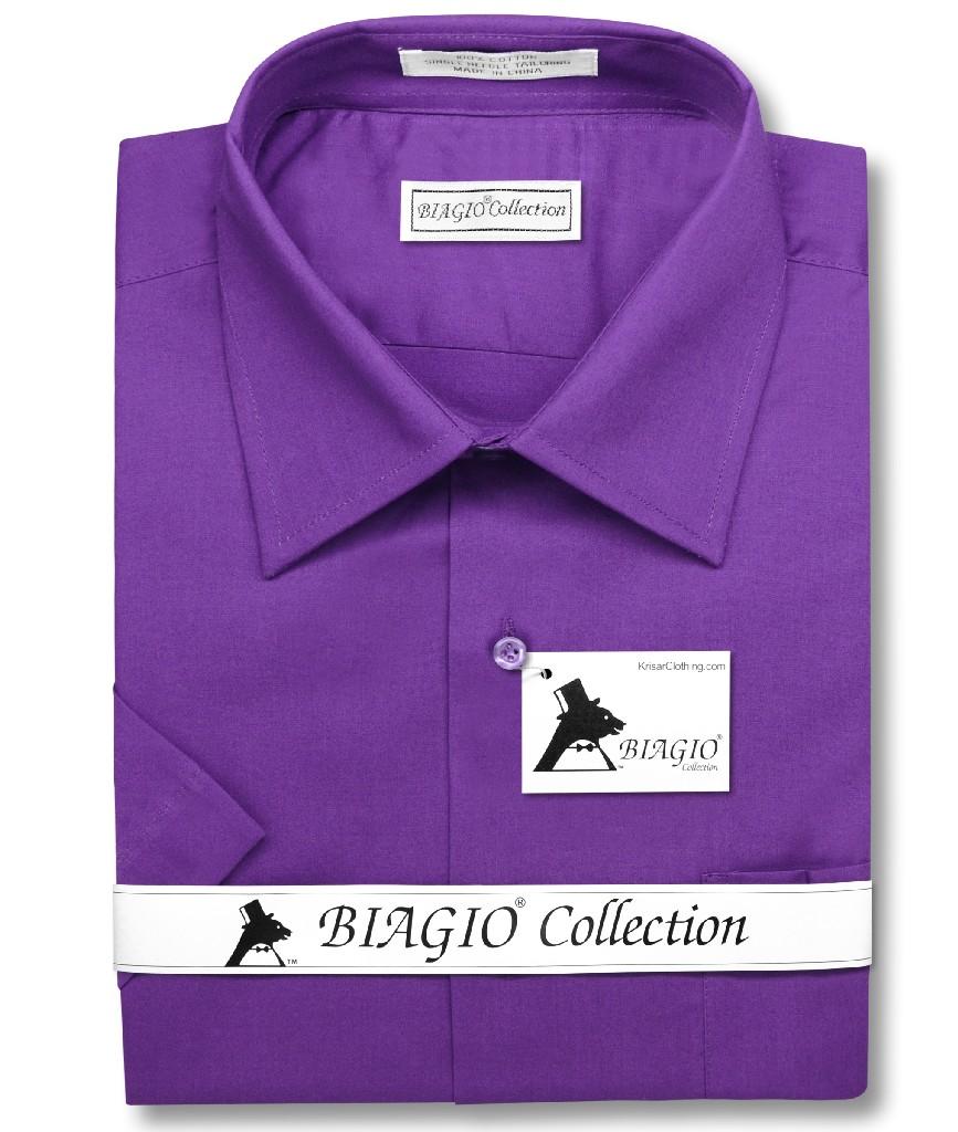 Biagio 100% Cotton Men's Short Sleeve Solid PURPLE INDIGO Color Dress Shirt