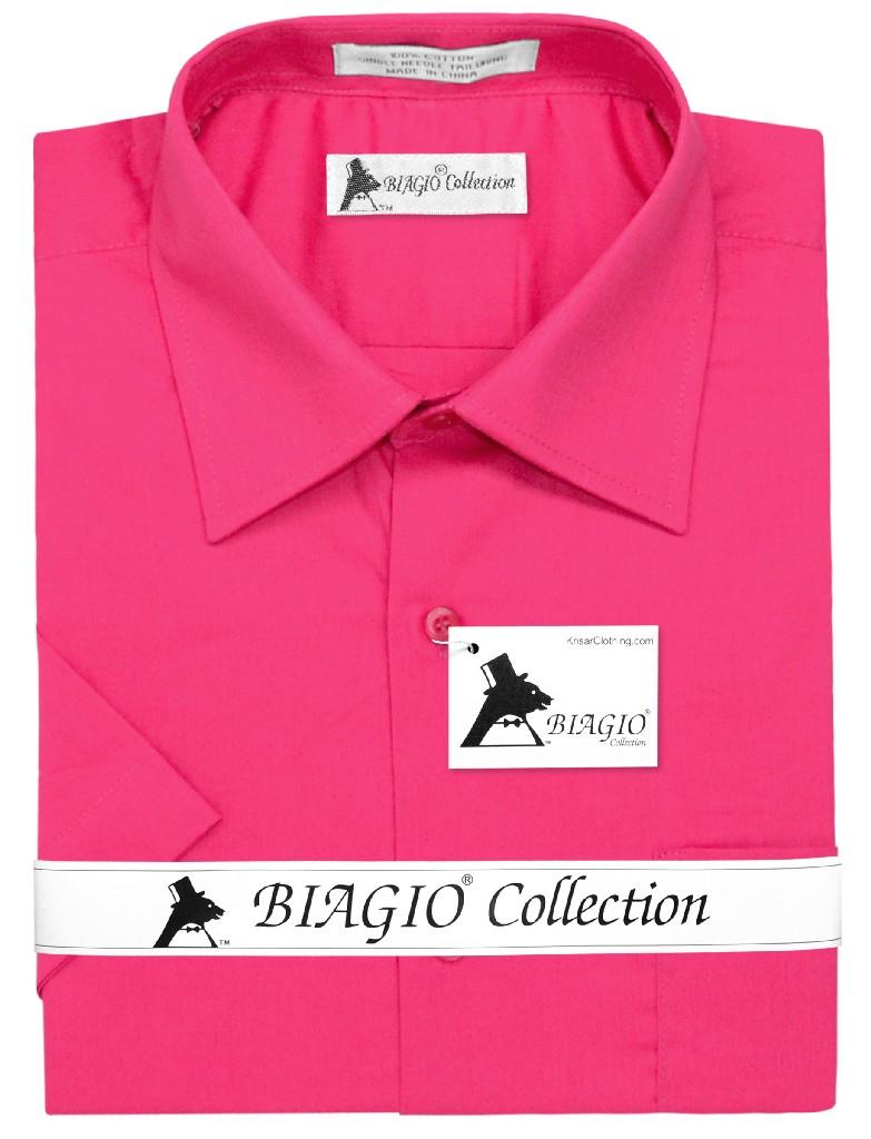 Biagio 100% Cotton Men's Short Sleeve Solid HOT PINK FUCHSIA Color Dress Shirt