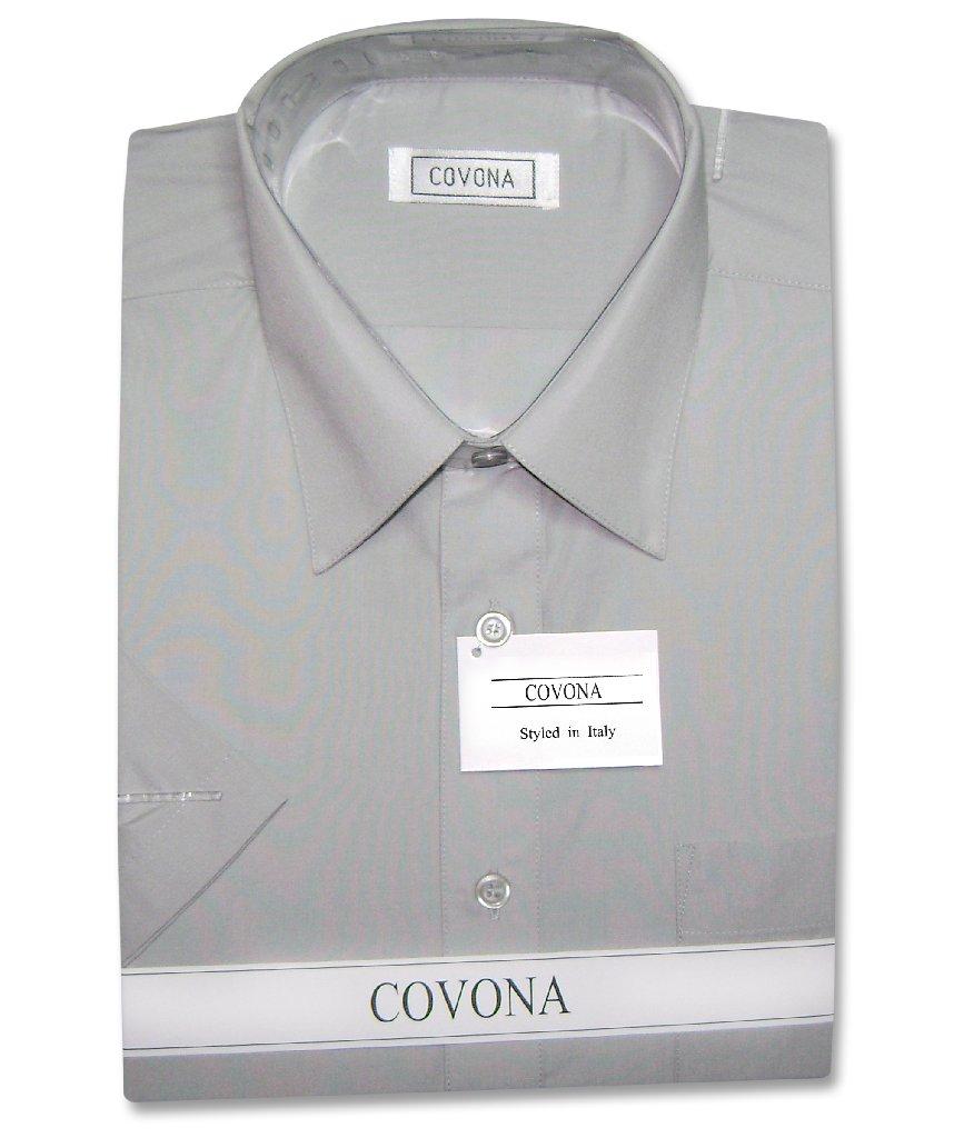 Covona mens short sleeve solid dark grey color dress shirt for Solid color short sleeve dress shirts