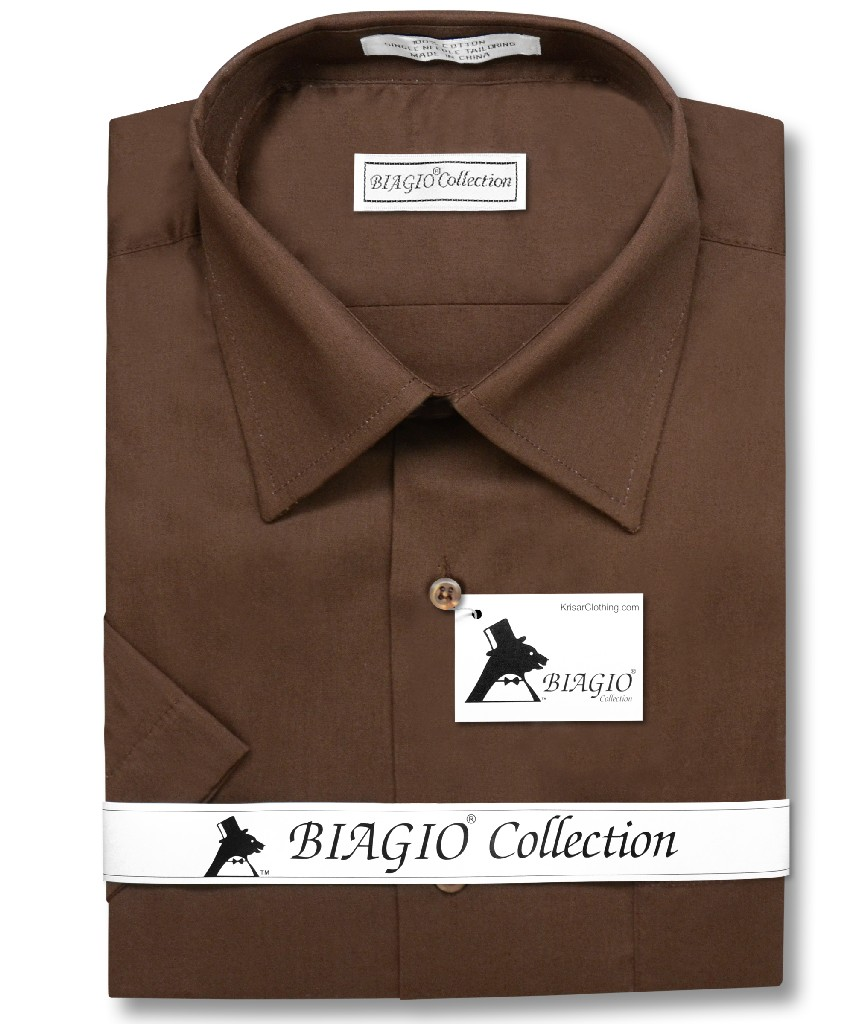 Biagio 100% Cotton Men's Short Sleeve Solid CHOCOLATE BROWN Color Dress Shirt
