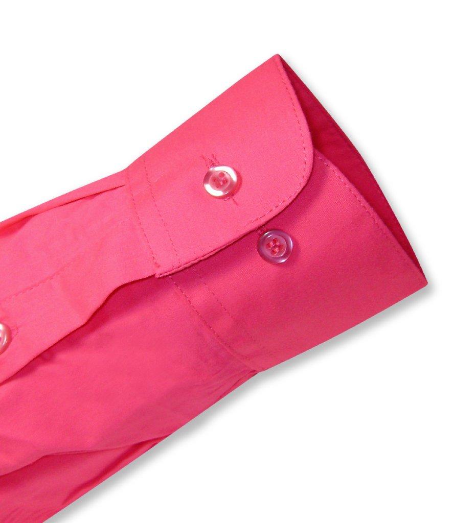 Biagio Men's 100% COTTON Solid HOT PINK FUCHSIA Dress Shirt w/ Convertible Cuffs