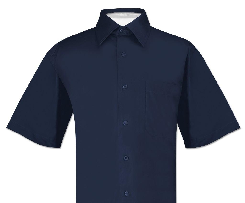 Biagio 100% Cotton Men's Short Sleeve Solid NAVY BLUE Color Dress Shirt