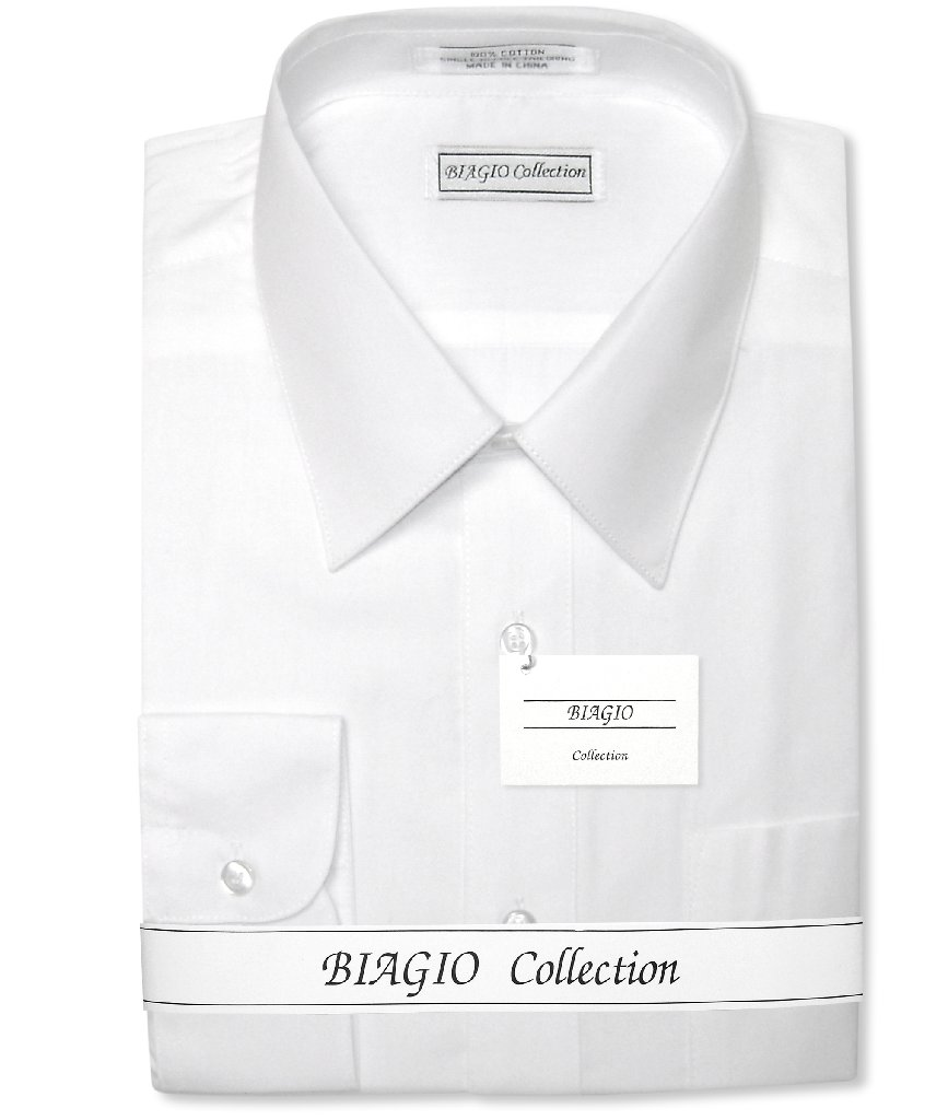 Biagio Men's 100% COTTON Solid WHITE Color Dress Shirt w/ Convertible Cuffs