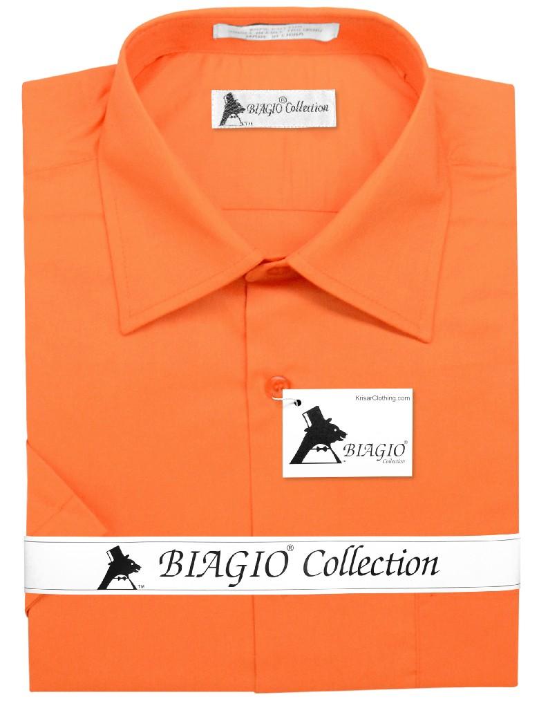 Biagio 100% Cotton Men's Short Sleeve Solid BURNT ORANGE Color Dress Shirt