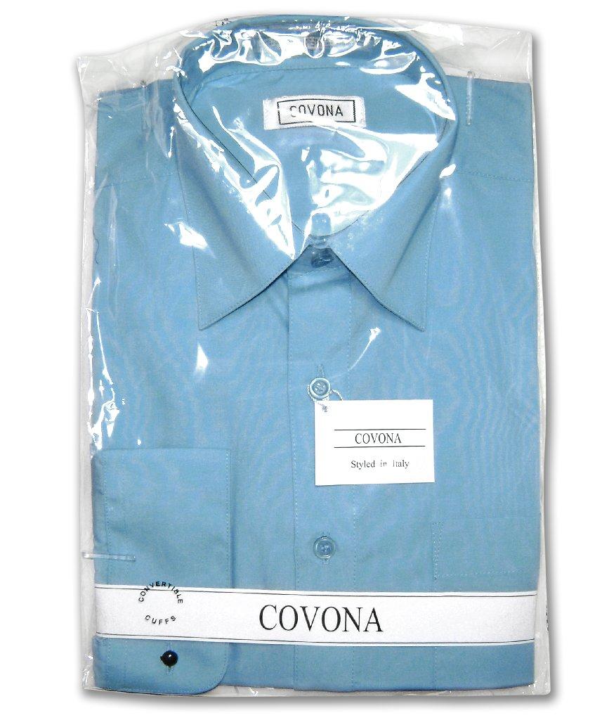 Men's Solid PEACOCK BLUE Color Dress Shirt w/ Convertible Cuffs