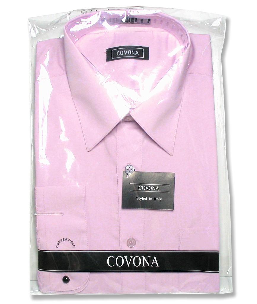 Men's Solid Lavender Purple Color Dress Shirt w/ Convertible Cuffs