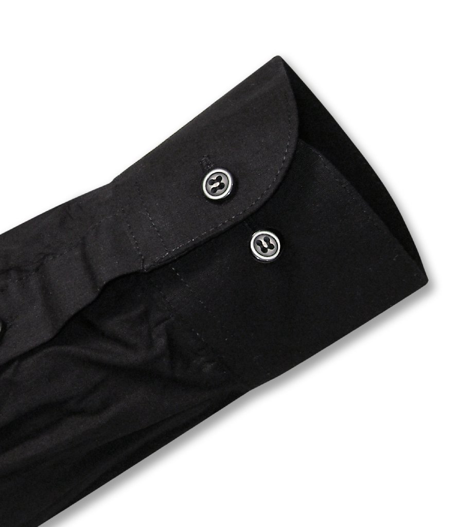 Biagio Men's 100% COTTON Solid BLACK Color Dress Shirt w/ Convertible Cuffs