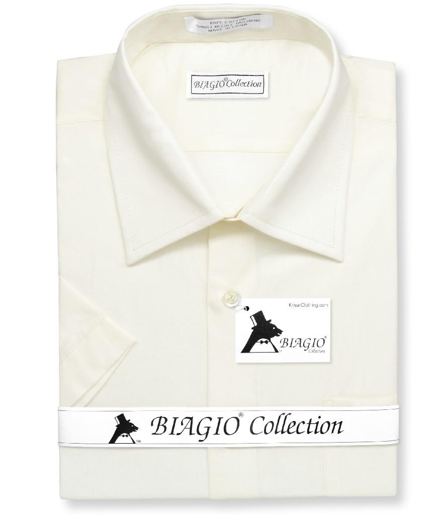Biagio 100% Cotton Men's Short Sleeve Solid CREAM Color Dress Shirt
