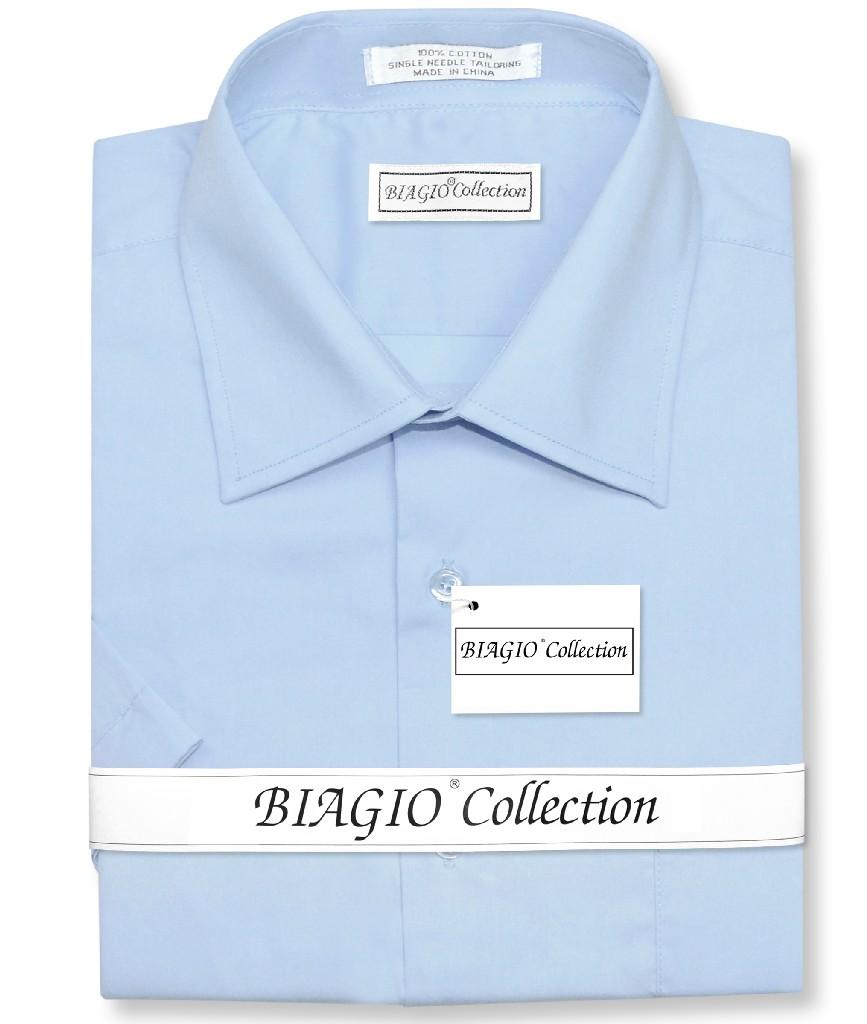 Biagio 100% Cotton Men's Short Sleeve Solid POWDER BLUE Color Dress Shirt