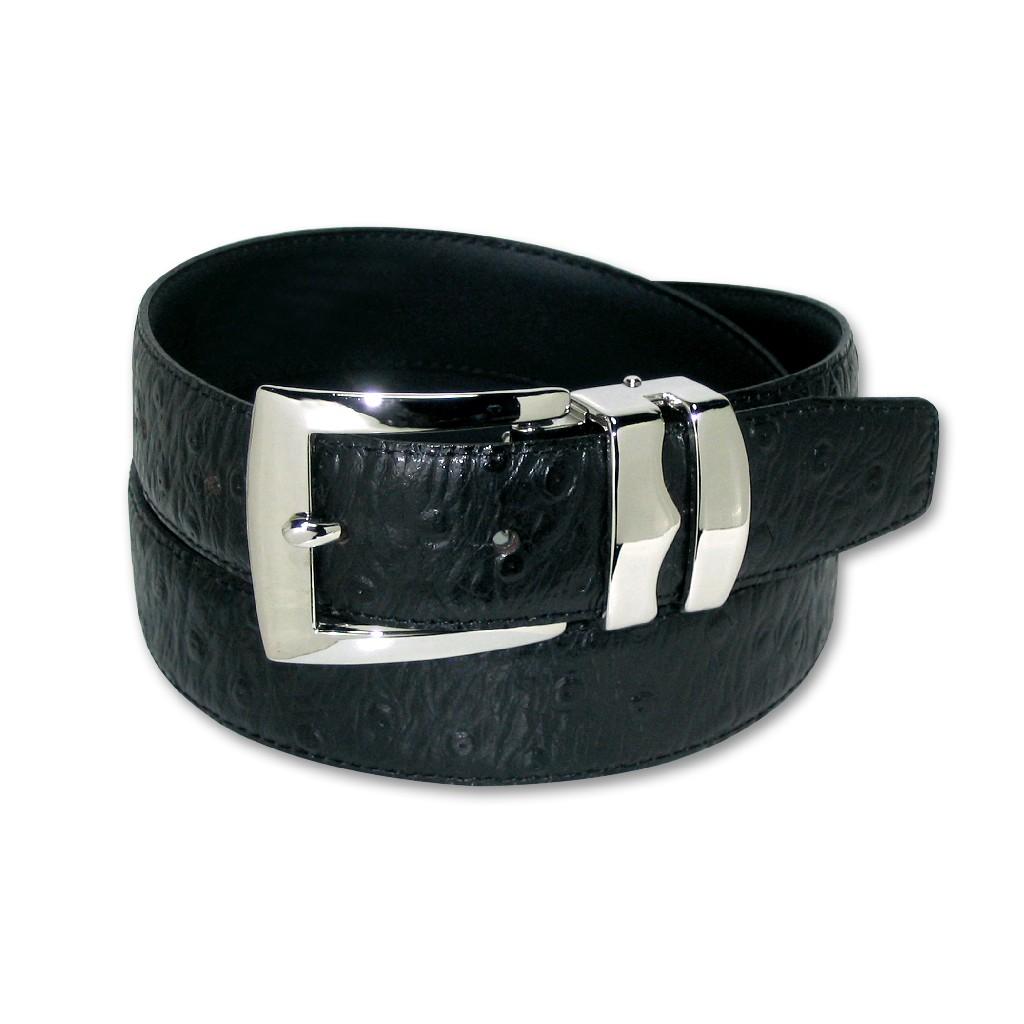 OSTRICH Pattern BLACK Color BONDED Leather Men's Belt Silver-Tone Buckle Regular