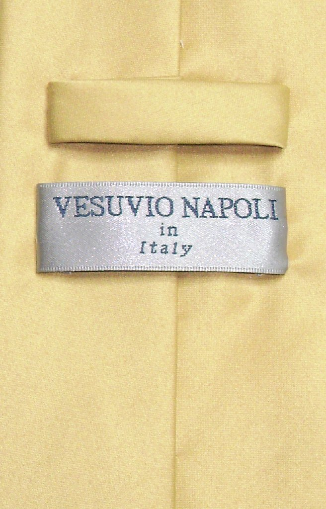 Vesuvio Napoli Solid GOLD Color NeckTie & Handkerchief Men's Neck Tie Set