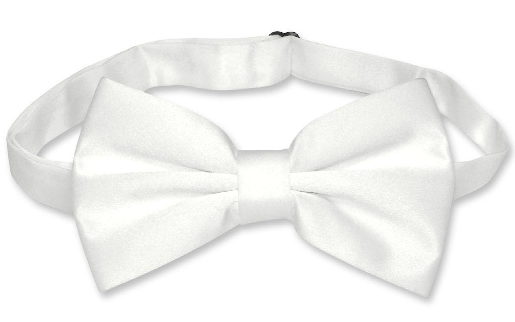 Mens SLIM FIT Dress Vest BowTie Solid WHITE Color Bow Tie Handkerchief Set