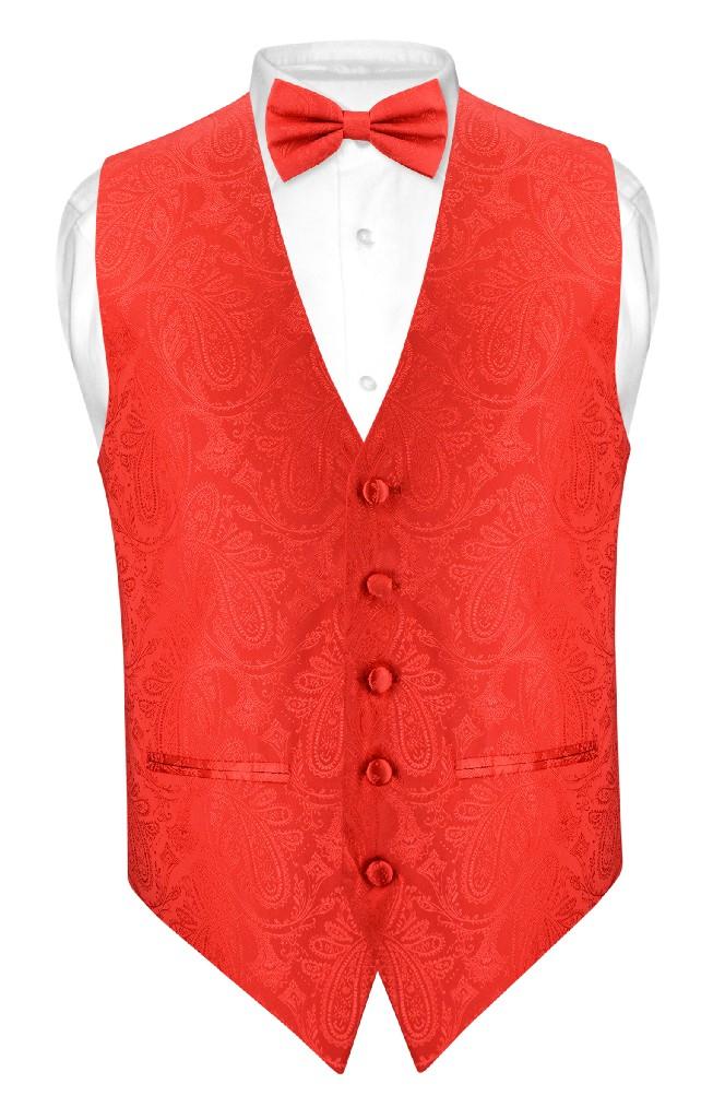 Men's Paisley Design SLIM FIT Dress Vest & Bow Tie RED Color BOWTie & Handkerchief Set for Suit or Tuxedo