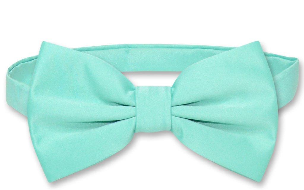 Men's SLIM FIT Dress Vest & BowTie Solid AQUA GREEN Color Bow Tie & Handkerchief Set for Suit or Tuxedo