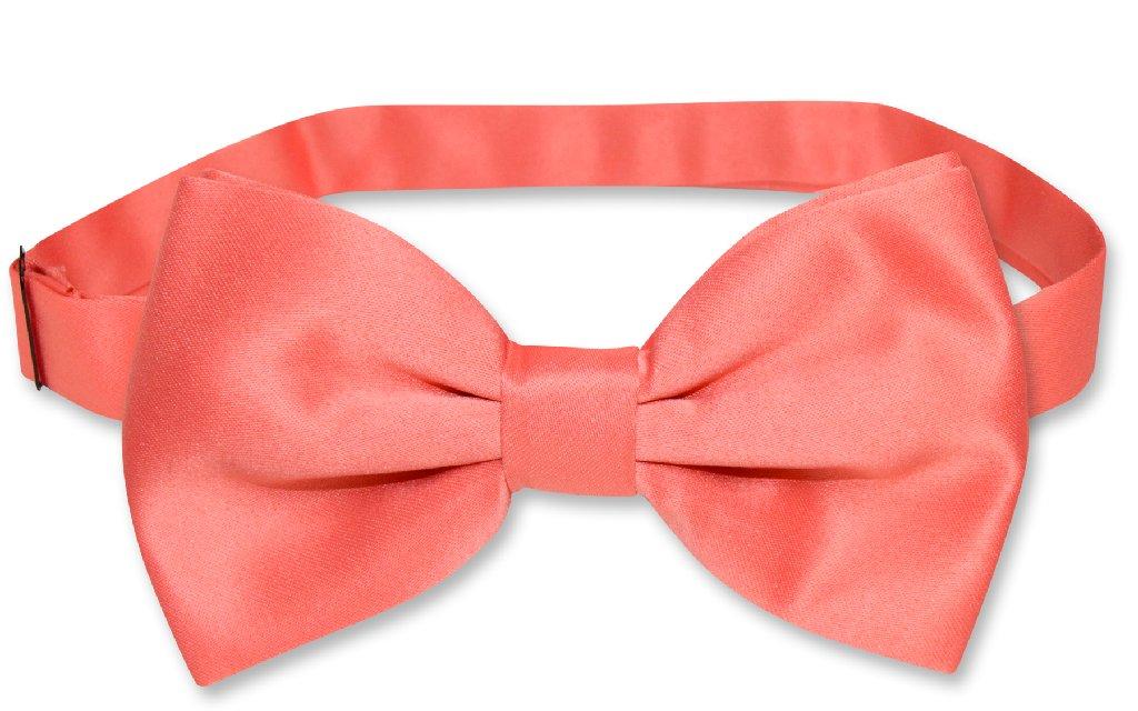 Men's SLIM FIT Dress Vest & BowTie Solid CORAL PINK Color Bow Tie & Handkerchief Set for Suit or Tuxedo