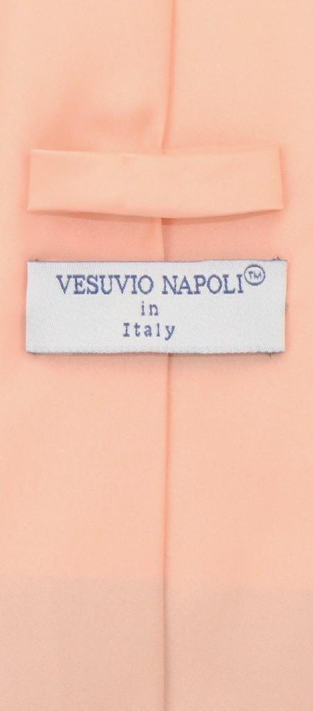 Vesuvio Napoli Solid EXTRA LONG PEACH Color NeckTie & Handkerchief Men's XL Neck Tie Set