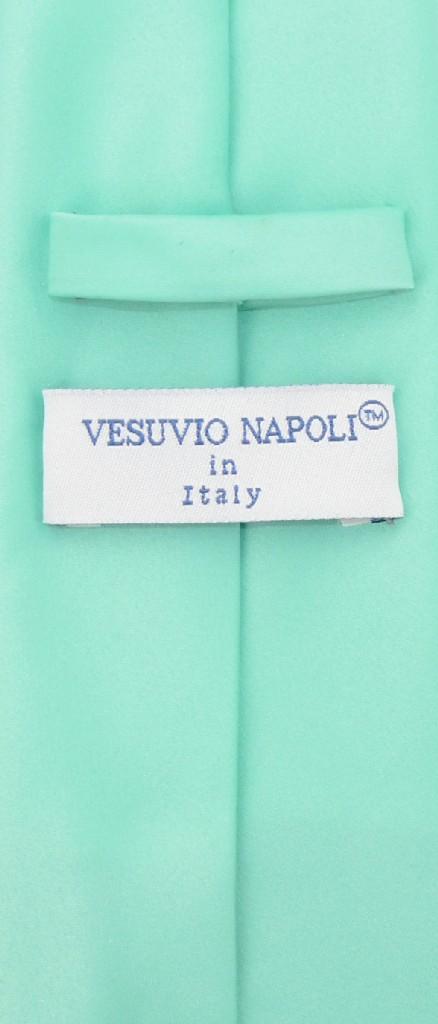 Vesuvio Napoli Solid EXTRA LONG AQUA GREEN Color NeckTie & Handkerchief Men's XL Neck Tie Set