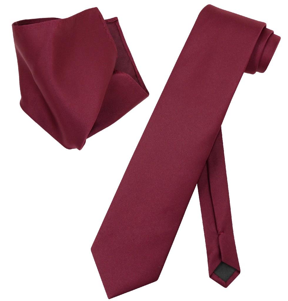 Vesuvio Napoli Solid EXTRA LONG BURGUNDY Color NeckTie & Handkerchief Men's XL Neck Tie Set