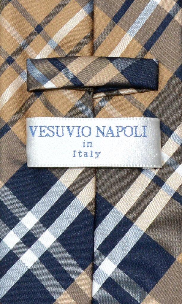 Vesuvio Napoli NeckTie Navy Brown White PLAID Design Men's Neck Tie